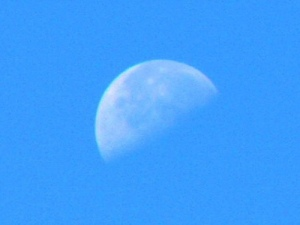 Upturned waning half moon in the daytime sky.